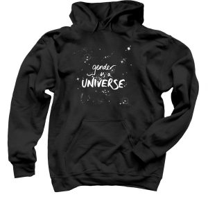 "Pullover black hoodie with ""gender is a UNIVERSE"" design with starfield"
