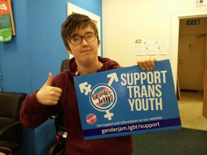 "Lyra holding a ""SUPPORT TRANS YOUTH"" sign while giving a thumbs up"
